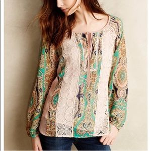 Anthropologie Meadow Rue Giada Peasant Blouse Lace